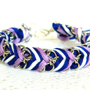 Lilac Blues  Royal Blue Pearl & Lilac  Chevron Braided by HelloZee