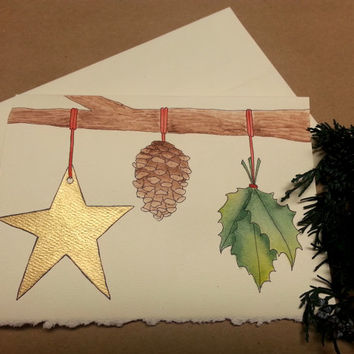 Rustic Christmas Card, Hand Painted Stationary, Custom Greeting Card, Original Watercolor Art, , Holiday Thank You Card,Simple Holiday Decor
