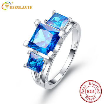 2.5 Ct Emerald Cut Natural Ocean Blue Topaz Square Engagement Wedding Ring Solid 925 Sterling Silver Jewelry Women with box
