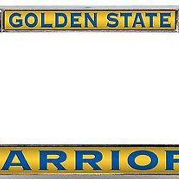 Golden State Warriors LASER FRAME BLUE/YLLW Chrome Metal License Plate Cover Tag