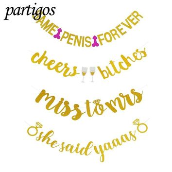 New!!! Gold Cheers Bitches Miss to mis Banner for Bachelorette Engagement Party Decor Versatile Beautiful Bunting Flag Garland