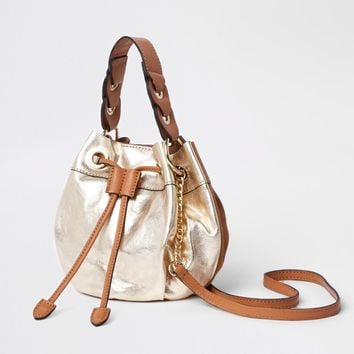 Gold suede drawstring chain cross body duffle - Cross Body Bags - Bags & Purses - women