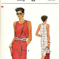 Retro Very Easy Vogue Pattern 8999 Button-Down-the Back Tank Style Summer Dress Sz 6-10 Uncut FF Cruise & Resort Wear Sewing Patterns Supply