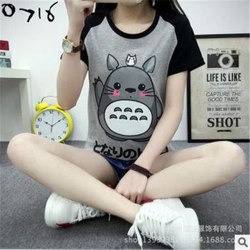 Fashion Animation Totoro T-shirts Women O-neck T Shirts For Women Sport Tee Tops Girl Casual T Shirt Couple Tshirt 2XL