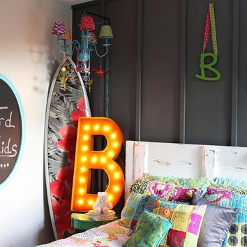"36"" Letter B Lighted Vintage Marquee Letters (Rustic)"