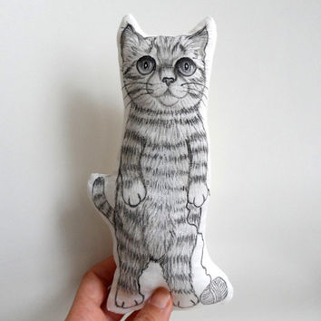 Cat Plush, Standing Cat  Mini Decorative Pillow, handpainted  animal Soft Sculpture,  - gift for pet lovers