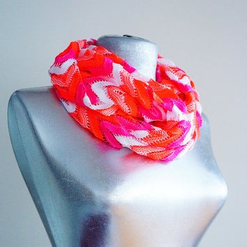 Handmade Orange White Fuchsia -Tribal Infinity Scarf - Summer Scarf -