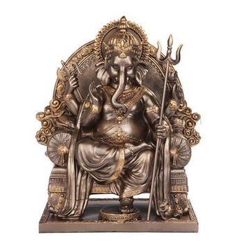 Ganesha Ganesh Seated on Chair Throne Hindu Statue, Bronze Finish 8.25H