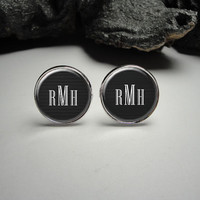 Personalized Black Monogram Cuff Links 20mm/Black Pattern Pattern Silver Cufflinks for Him/Men Gift