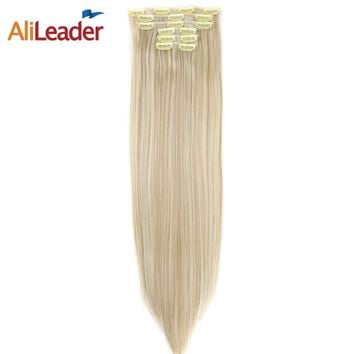 Alileader Long Straight Hair Extension 6pcs/Set 16Clips Heat Resistant Synthetic Hairpieces False Hair Pieces Blonde Brown Color