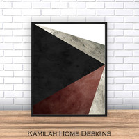Mid Century Digital, Printable Art, Black, Grey Art, Scandinavian Art, Mid Century print, Modern Art, Wall Decor, Wall Art, Digital Download