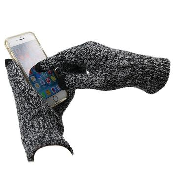 Men's Knitted Velvet Touchscreen Winter Gloves