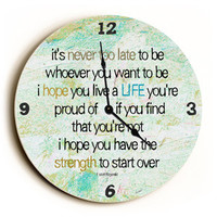 Never Too Late Unique Wall Clock by Artist Lisa Weedn