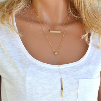Layered Necklace Gold, Name Necklace, Long Y Necklace with CZ Diamond, Personalized Long Bar Necklace, Gold Layering Necklace