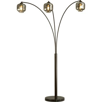 Thomas 3 Light Arc Lamp Oil Rubbed Bronze Black Marble Base & Charcoal Glass Shades