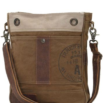Myra Bag Stamped A Up-cycled Canvas Shoulder Bag S-0717
