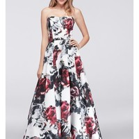 High-Low Floral Satin Ball Gown - Davids Bridal