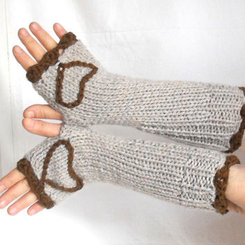 Fingerless Gloves mixed beige dark brown heart work the by aysev