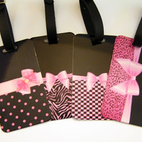 Pink and Black Girly Girl  Custom Luggage Tags