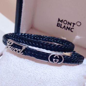 GUCCI Fashion personality new leather rope couple bracelet Silver