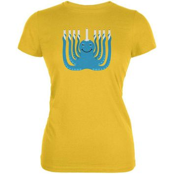 LMFCY8 Hanukkah Menorah-ctopus Funny Octopus Bright Yellow Juniors Soft T-Shirt