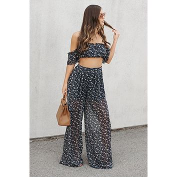 Floral Flow Two Piece Set (Navy Multi)