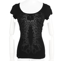 Slashed back women's top with rings by Punk Rave