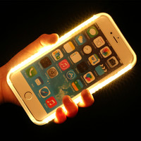 2016 Fashion New Luxury LED Light Selfie Phone Case, Luminous Phone back Cover for iPhone6 6S 6Plus 5 5s