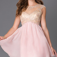 Short Cap Sleeve Dress with Lace Embellished Sheer Bodice by Masquerade