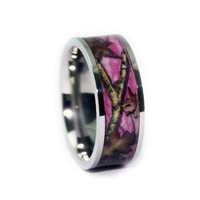 Pink Camo Wedding Ring - Flat Titanium