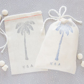 Personalized 10 Palm Tree Wedding Favor Bags - Perfect for Beach Weddings