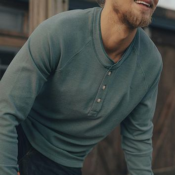 Long Sleeve Puremeso Raglan Henley in Teal by The Normal Brand