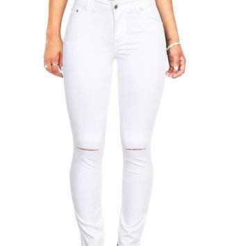 Canvas Knee Slit Skinny Jeans