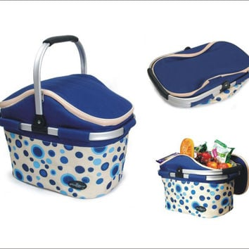 Aluminum Framed Picnic Cooler Basket Blue (Empty)