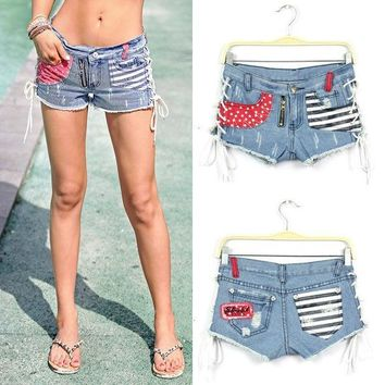 ESBONQK WOMEN STARS STRIPES USA PANTS FLAG DENIM JEAN SHORTS