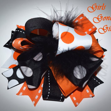 Halloween hair bow stacked boutique Halloween bow orange and black loopy bow layered bow baby Halloween toddler girl Halloween hairbow