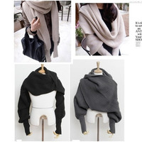 Unisex Winter Warmer Knitting Wool Scarf With Sleeve Soft Wrap Shawl Scarves = 1958211908