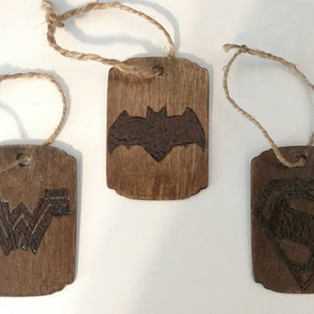 DC Comics Batman/Wonder woman/Superman/Justice League/Wood Burned/engraved/DC Comics movie Ornament Set of 3 - Handmade Rustic Wooden Gift