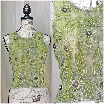 Silk beaded top / olive green sheer cami / embroidered / iridescent / party / glam / size S