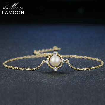 LAMOON Fine Moon 100% Natural Bead Freshwater Pearl 925 Sterling Silver Jewelry 14K Gold Plated Female Chain Charm Bracelet