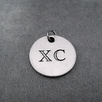 XC Round Pewter Pendant Charm - The Run Home's XC Charm available only at The Run Home - ONE (1) Xc Charm - Cross Country Xc Runner Charm