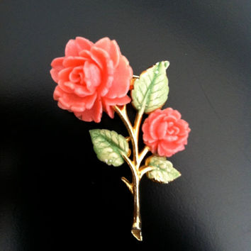 Vintage Signed JJ Jonette Jewelry  Pink Rose Brooch Pin