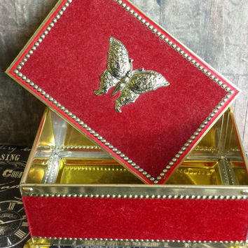 ON SALE Vintage Blue Bird Confectionery Tin Box, Red Velvet Outer, Ornate Butterfly & gold trim, Harry Vincent Limited, Trinket Jewelry Box