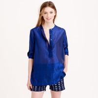 COLLARLESS POPOVER SHIRT IN METALLIC VOILE