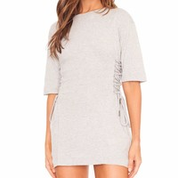 Undone Lace Up Tee Mini Dress