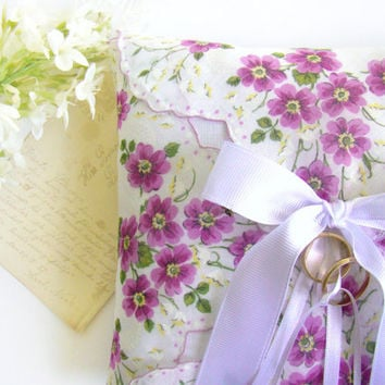 Ring Bearer Pillow,Vintage Handkerchief Pillow, Rustic Wedding, Ring Bearer, Lavender Floral, Garden Wedding, Ring Pillow, Vintage Inspired