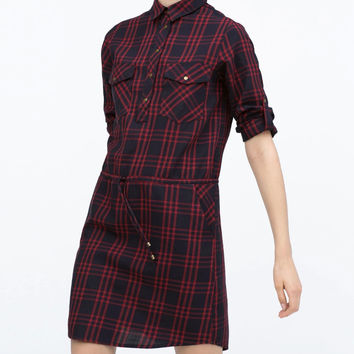 Red Plaid Sleeve Button Shirt Dress With Pockets