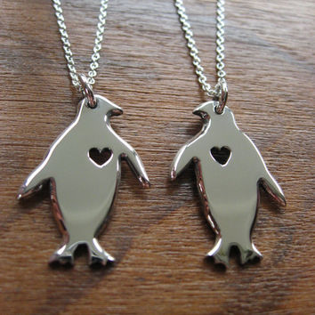 Two Silver Penguins with Hearts Pendant Necklaces