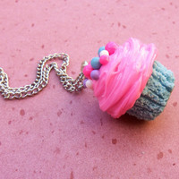 big cotton candy bubble gum polymer clay cupcake necklace