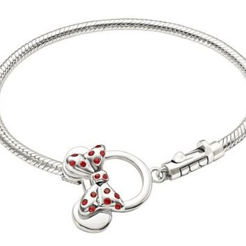 "Authentic Chamilia Disney ""Minnie Mouse Toggle Bracelet"" (7.5 inches or 19 cm) 1014-0038"